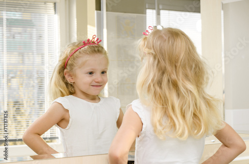 canvas print picture blond girl in mirror