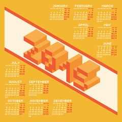 Square Pixel Style Year 2015 Calendar