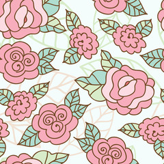 Vector seamless hand-drawn pattern with decorative rose flowers