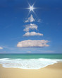 Christmas tree formed in the sky with clouds and sun. - 71788628