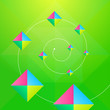 Triangles And Square Green Abstract Background