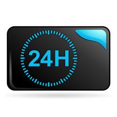 vingt-quatre heures sur bouton web rectangle bleu