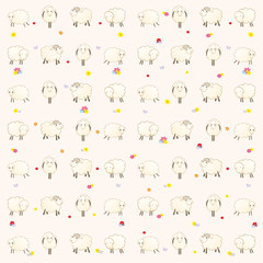 wallpaper with lambs on a pink background
