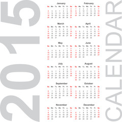 Simple Calendar year 2015,  vector