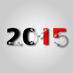 new year 2015 with plate and screws