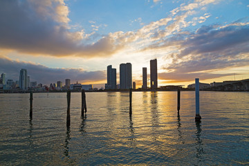 Downtown skyline at sunset with cloudy skies in Miami, Florida