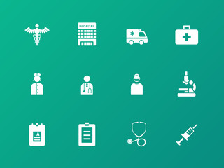 Hospital icons on green background.