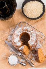gluten-free cake with rice flour and kaymak