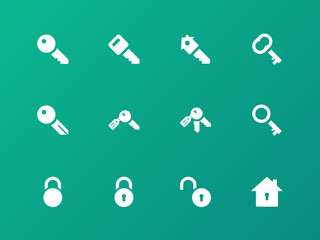 Key icons on green background.