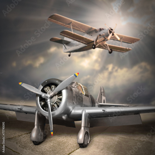 Retro style picture of the aircrafts.