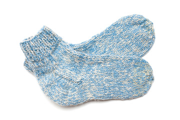 blue wool socks isolated on white