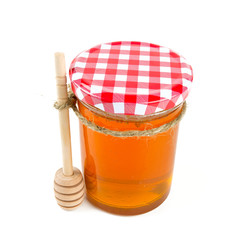 honey jar isolated on white
