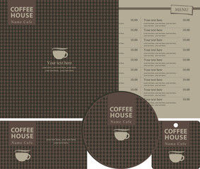 set for the coffee house menu, business cards