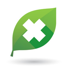 Green leaf icon with an irritating substance sign