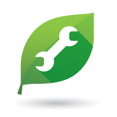 Green leaf icon with a monkey wrench