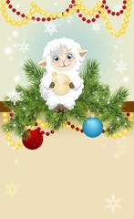 Christmas background with a little lamb
