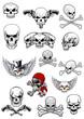 Vector skull characters with crossbones - 71790601