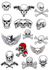 Vector skull characters with crossbones