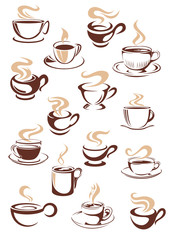 Set of vector steaming hot cups of coffee
