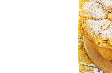 Apple pie, charlotte on a towel isolated on white background