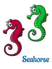 Cute little cartoon seahorses