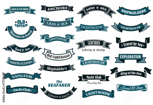Nautical themed banners - 71790637