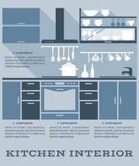 Kitchen interior flat design