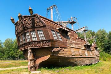 Abandoned old sailing ship