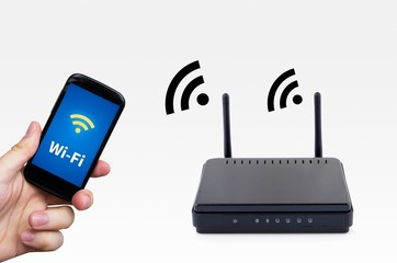 Wireless router with mobile device network concept