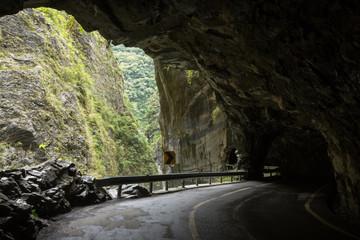 Road dug into rock at the Taroko National Park in Taiwan