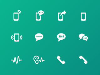 Phone icons on green background.