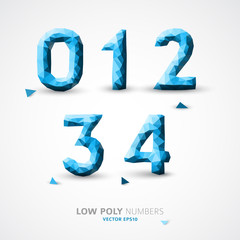 Vector low poly numbers font