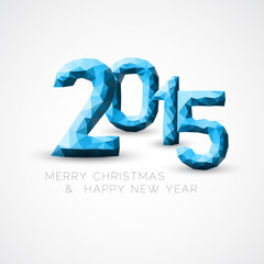 Blue Low poly Happy New Year 2015 vector card
