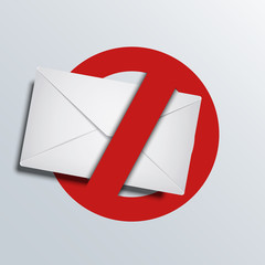 Vector spam icon. Envelope background.