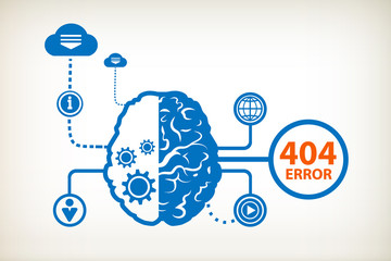 404 error. Page not found and abstract human brain