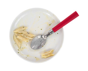 Finished pasta meal on plate with spoon