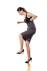 angry woman with her legs lifted