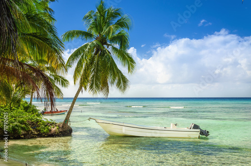Poster Centraal-Amerika Landen Beautiful beach with palm trees and moored fishing boat