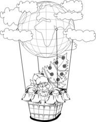 Christmas hot air balloon with Santa Claus