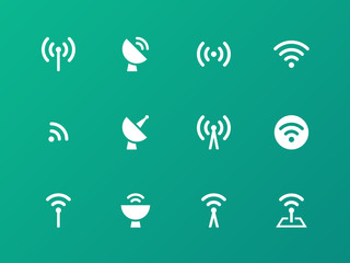 Radio Tower icons on green background.