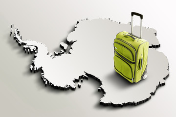 Travel to Antarctica. Green suitcase on 3d map