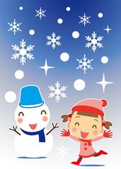 雪ダルマと女の子