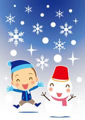 雪ダルマと男の子