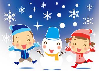 雪ダルマと子ども