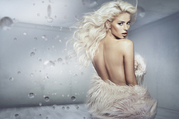 Art picture of the blond lady with the fur coat