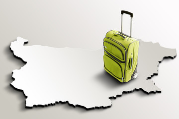 Travel to Bulgaria. Green suitcase on 3d map of the country