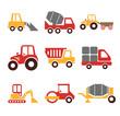 Stock vector construction machine color pictogram icon set