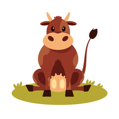 Vector cow flat icon