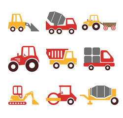 Stock vector construction machine color pictogram icon set