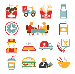 Stock vector food color pictogram icon set